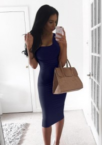 Navy Blue Plain Square Neck Sexy Polyester Midi Dress