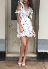 White Polka Dot Print Sashes Ruffle High Waisted Cute Mini Dress