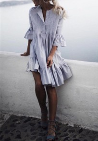 Grey Plain Buttons Ruffle Round Neck Midi Dress