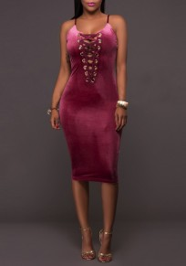 Burgundy Plain Hollow-out Spaghetti Straps Deep V-neck Clubwear Bodycon Midi Dress