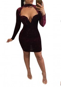 Date Red Plain Cut Out Halter Neck Deep V-neck Long Sleeve Mini Dress