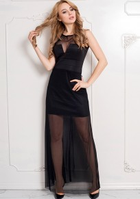 Black Patchwork Grenadine Round Neck Party Polyester Maxi Dress
