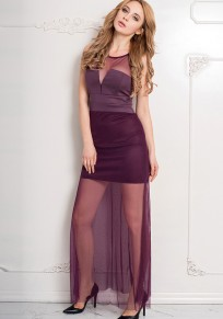 Purple Patchwork Grenadine Round Neck Party Polyester Maxi Dress