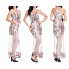 Rose Gold Patchwork Sequin Condole Belt Grenadine Spaghetti Strap Sexy Maxi Dress