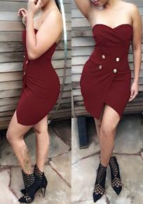 Wine Red Plain Irregular Buttons Bandeau Mini Dress