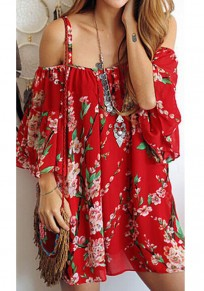 Red Floral Condole Belt Backless Mini Dress