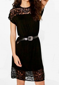 Black Patchwork Lace Hollow-out Round Neck Mini Dress