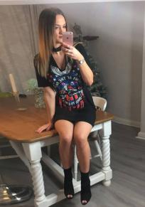 Black Egle King Of The Road Print Cut Up Halter Neck Short Sleeve Mini Dress