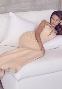 Apricot Patchwork Lace Round Neck Party Polyester Maxi Dress
