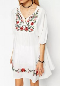 White Floral Buttons Embroidery V-neck National Mini Dress