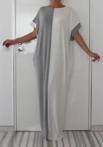 Robe longue drapé manches courtes décontracté lâche islamic musulman abaya blanc et gris