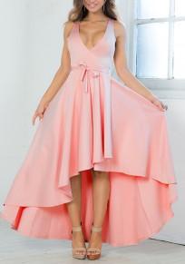 Robe longue swallowtail haut-bas plissé sans manches v-cou élégant de soirée rose