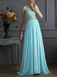 Himmelblau Splicing Spitze Mesh Pailletten V-Ausschnitt Ärmellos Elegant Maxikleid Abendkleid