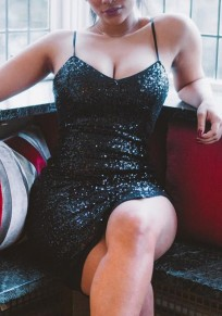 Black Bandeau Shoulder-Strap Sequin Backless Sleeveless Bodycon Midi Dress