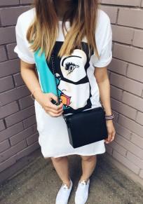 White Cartoon Pattern Round Neck Streetwear Cotton Mini Dress
