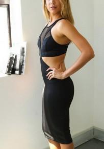 Black Patchwork Zipper Grenadine Cut Out Midi Dress