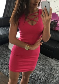 Rose Karmin Ebene Ausschnitt Sexy Mini Kleid
