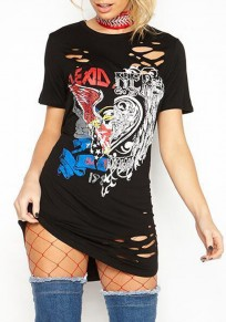 Black Graphic Hellraiser Eagle Distressed Rock Ripped Heart Hollow-out T-Shirt Mini Dress