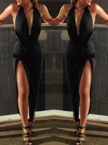 Black Deep V-Neck Condole Belt Side Slit Plunging Neckline Maxi Dress