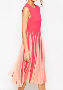 Rose Carmine Patchwork Grenadine Pleated Fashion Midi Dress