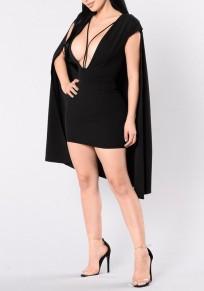 Schwarzer Ebene Ausgeschnitten Tiefer V-Ausschnitt Unregelmäßiger Bodycon Umhang Cape Mini Kleid
