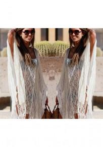 White Plain Tassel Scoop Neck Bohemian Cotton Blend Midi Dress