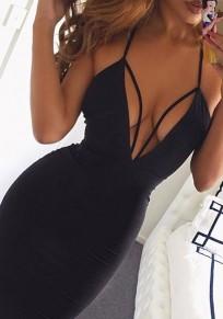 Midi robe en uni bretelle décolleté plongeant noir