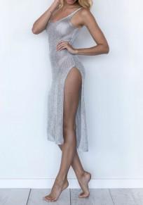 Grey Plain Condole Belt Side Slit Midi Dress