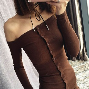 Dark Brown Plain Bandeau Single Breasted Off Shoulder Slim Casual Midi Dress