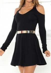 Black Plain Cut Out Draped Mini Dress
