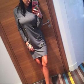 Grey Plain Zipper Round Neck Long Sleeve Casual Mini Dress