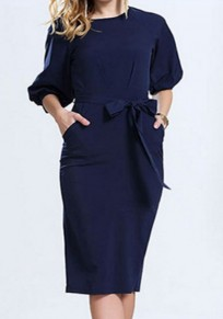 Sapphire Blue Plain Belt Lantern Sleeve Slim Fashion Midi Dress