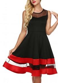 Black Patchwork Grenadin Pleated Deep V Neck Backless Chiffon Flowy A-line Skater Mini Dress