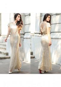 Golden Plain Sequin Semicircular Dacron Bridesmaid Maxi Dress