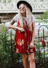 Red Floral Print Draped Hollow-out Deep V-neck A-line Bohemian Mini Dress