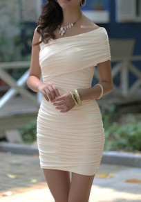 Apricot Plain Asymmetric Shoulder Sleeveless Sexy Mini Dress