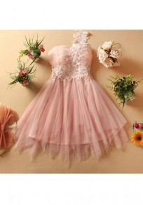 Pink Patchwork Lace Grenadine Rhinestone Sweet Mini Dress