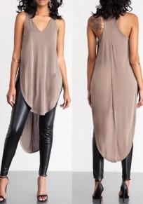 Khaki Plain Irregular V-neck Sleeveless Loose Midi Dress