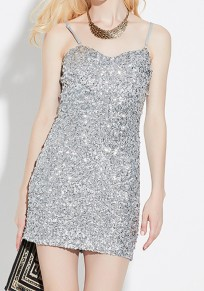 Silver Plain Sequin Condole Belt Sleeveless Sexy Maxi Dress