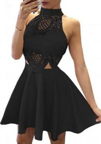 Black Patchwork Hollow-out Spandex Mini Dress