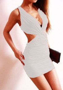 White Plain Cut Out Plunging Neckline Sexy Polyester Mini Dress