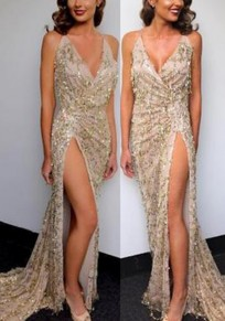 Golden Glitter Sparkly Sequin Spaghetti Strap Side Slit Cocktail Party Brideside Maxi Dress