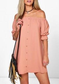 Pink Plain Buttons Ruffle Boat Neck Mini Dress