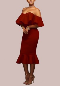 Red Plain Bandeau Ruffle Fashion Cotton Blend Midi Dress