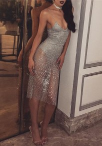 Silver Patchwork Sequin Glitter Sheer Slit Spaghetti Straps Backless V-neck Cocktail Party Midi Dress