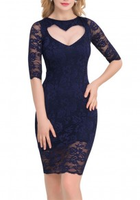 Dark Blue Plain Cut Out Collarless Fashion Lace Mini Dress