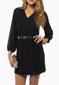 Black Plain Double-deck Draped Long Sleeve Mini Dress