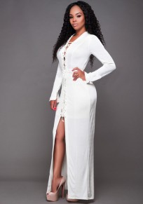 White Plain Drawstring Plunging Neckline Polyester Maxi Dress