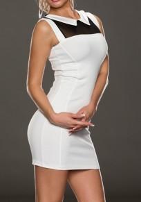 White Patchwork Grenadine Round Neck Fashion Cotton Blend Mini Dress