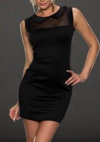 Black Patchwork Grenadine Round Neck Fashion Cotton Blend Mini Dress
